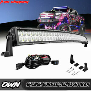 54 Curved Led Light Bar upper Roof Brackets Wiring For 2002 08 Dodge Ram 1500