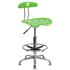 Bench Stool With Tractor Seat Plastic Metal Green Chrome Swivel Furniture 30 h