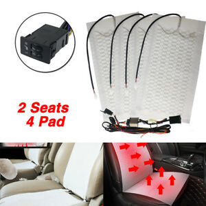 2 Seats Universal Heated Seat Heater Kits 12v Carbon Fiber Round High low Switch