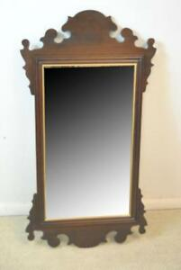 Ethan Allen Chippendale Wall Mirror Beveled Glass Mahogany