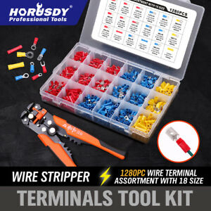 1280pc Electrical Wire Terminal Kit 5in1 Cable Crimpers Cutter Stripper Pliers