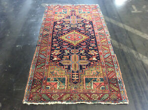 Antique Persian Heriz Oriental Rug Wool Hand Knotted Circa 1920