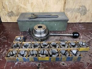 Lathe Chuck 1 1 2 8 With 16 Collets 1 8 1 South Bend Atlas Logan Craftsman