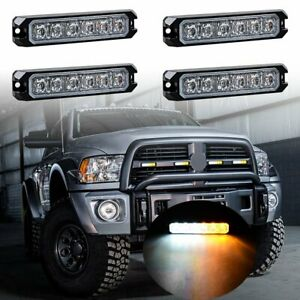 4pcs White amber 6 Led Emergency Warning Hazard Caution Flash Sync Strobe Lights