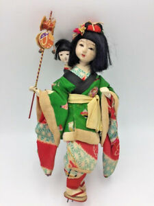 Antique Japanese Gofun Isho Ningyo Doll Nanny W Child Silk Kimono Glass Eyes 9