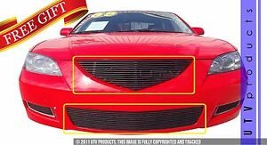 Gtg 2007 2009 Mazda 3 2pc Gloss Black Replacement Billet Grille Grill Kit