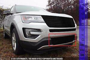 Gtg 2016 2017 Ford Explorer 1pc Gloss Black Replacement Bumper Billet Grille