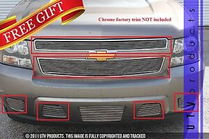 Gtg 2007 2014 Chevy Tahoe 6pc Polished Custom Combo Billet Grille Grill Kit