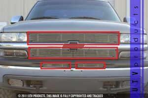 Gtg 1999 2002 Chevy Silverado 1500 4pc Polished Combo Billet Grille Insert Kit