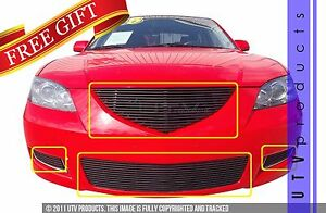Gtg 2007 2009 Mazda 3 4pc Gloss Black Replacement Billet Grille Grill Kit