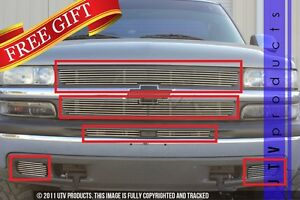 Gtg 1999 2002 Chevy Silverado 1500 6pc Polished Billet Grille Grill Insert Kit