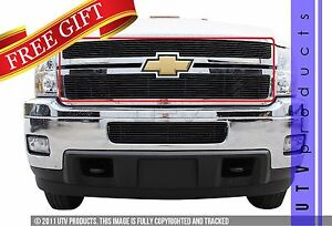 Gtg 2011 2014 Chevy Silverado 2500 3500 2pc Gloss Black Overlay Billet Grille