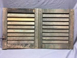 Small Pair Antique House Window Wood Louvered Shutters 15x17 Shabby Vtg 6 18c