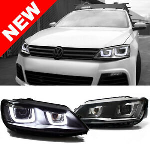 2011 Vw Jetta Mk6 Sedan Black Bi xenon Projector Headlights W Mk7 Look Led Drl