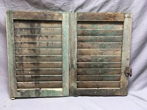 Small Pair Antique House Window Wood Louvered Shutters 14x19 Shabby Vtg 7 18c