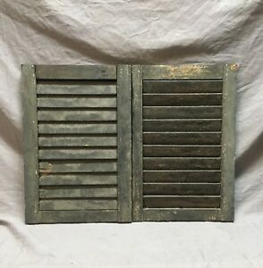 Small Pair Antique House Window Wood Louvered Shutters 14x21 Shabby Vtg 9 18c