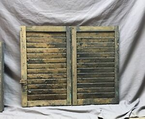 Small Pair Antique House Window Wood Louvered Shutters 16x25 Shabby Vtg 10 18c