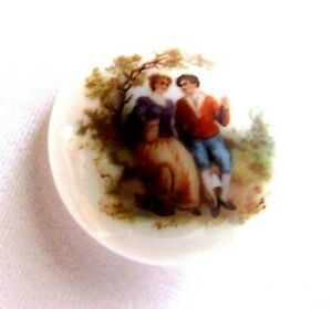 Antique 50 S French White Porcelain Romantic Scene Button L 1 1 8