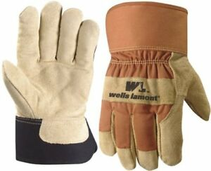 Wells Lamont Leather Palm Gloves Split Cowhide Large Shirred Lined