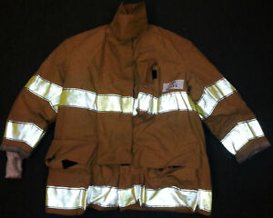 48x35 Firefighter Jacket Coat Bunker Turn Out Gear Brown Globe Fire J521