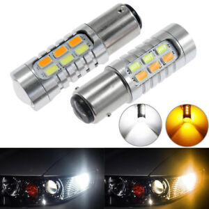 2x Best 1157 Dual Color 5730 6000k 22smd White Amber Led Turn Signal Light Bulbs