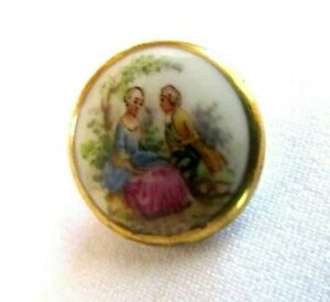 Antique French Porcelain Button Hand Painted Romantic Scene Gold Border Sz 3 4