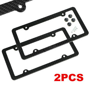 2pcs Set Carbon Fiber License Plate Frame Tag Cover Original 3k Twill Jdm Ff F