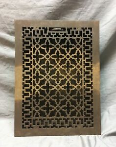 Antique Cast Iron Gothic Style Heat Grate Floor Register 12x17 Vtg Old 14 18c