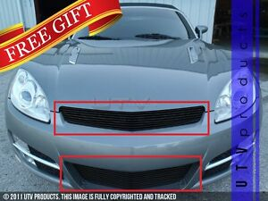 Gtg 2007 2009 Saturn Sky 2pc Gloss Black Replacement Combo Billet Grille Kit