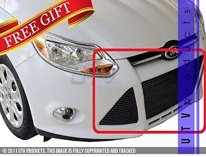 Gtg 2012 2014 Ford Focus 3pc Gloss Black Custom Replacement Billet Grille Kit