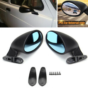 2x Abs California Classic Door Wing Side Mirror Vintage Hotrod muscle Universal