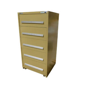 Stanley Vidmar 30 X 27 5 X 59 Tan 5 drawer Industrial Storage Cabinet