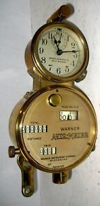 Warner 100 Mph Auto Meter Brass Speedometer With Clock Thomas Flyer Locomobile