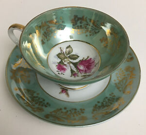 Royal Sealy Light Green Gold Accents Pink Roses Cup And Saucer China