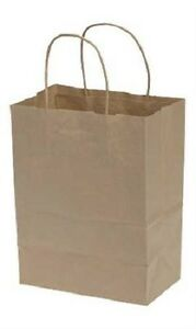 Paper Shopping Bags 100 Cub Natural Kraft 8 X 4 X 10 High Retail Store
