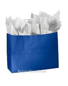 Paper Shopping Bags 100 Glossy Royal Blue Retail Gift Merchandise 16 X 6 X 12