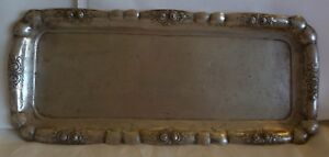 Old Czech 800 Silver Tray W Raised Roses 315 Grams Good Size For Candles