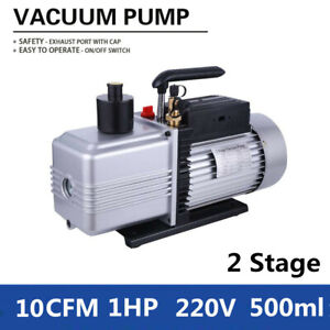 220v 2 stage 10cfm Rotary Vane Vacuum Pump 1hp For Air Conditioning Refrigerator