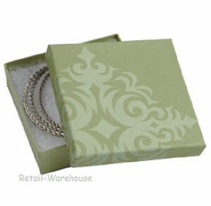 Jewelry Boxes 100 Damask Sage Green Cotton Filled Gift Retail 3 X 3 X 1