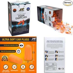 Foam Ear Plugs 200 Pairs Hearing Protection Sleep Noise Reduction Disposable