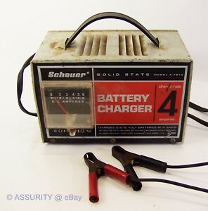 Schauer Compact 4 Amp 6 12 Volt Battery Charger Work Model A 7612 Solid State
