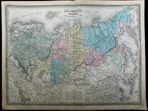 Russia Tartary Central Asia Turkestan China Tibet C 1865 Dufour Huge Antique Map