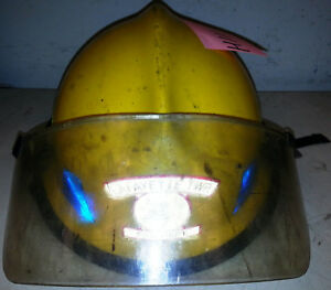 Firefighter Bunker Turn Out Gear Yellow Helmet Reflector Lite Force 4 H111