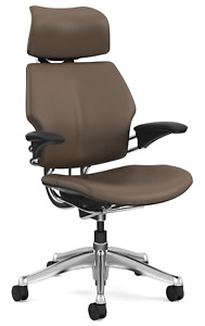 Humanscale Freedom Miso Brown Bizon Leather Aluminum Computer Office Desk Chair