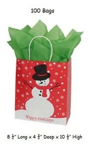 Paper Shopping Bags 100 Christmas Merchandise Holiday 8 X 4 X 10 Snowman