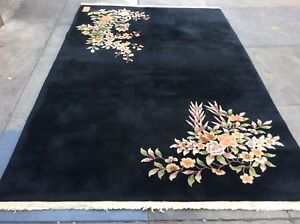 Authentic Vintage Art Deco Chinese Oriental Rug Hand Knotted Black 6 X 9