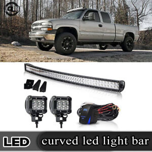 Roof 50 288w Curved Led Light Bar 4 18w For 99 04 Jeep Grand Cherokee Wj