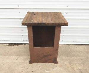 Vtg Industrial Workbench Steel Machine Base Wood Top Primitive Kitchen Island
