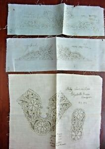 3 Antique Victorian Stamped Tape Lace Lacemaking Baby Collars Shoe Patterns