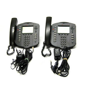 lot Of 2 Polycom 2201 11501 001 Soundpoint Ip 501 Sip Volp Phones W Stand pwr
